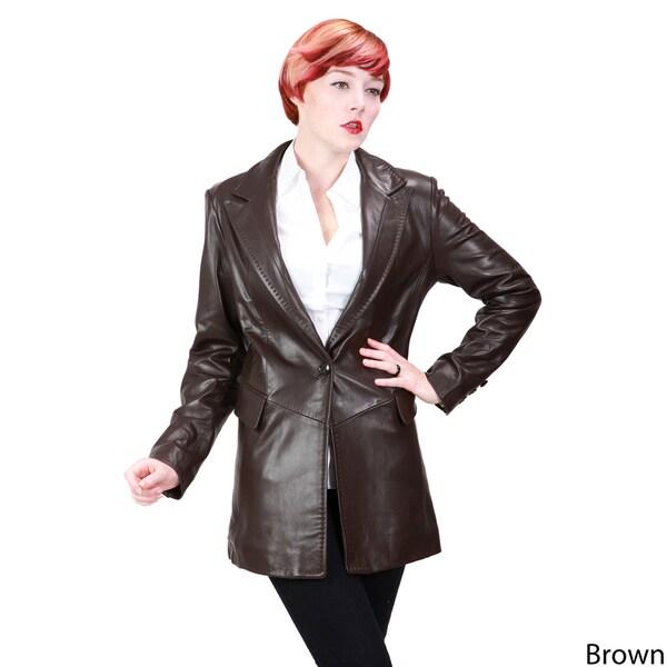 Ramonti Women's Lambskin Leather One-button Blazer