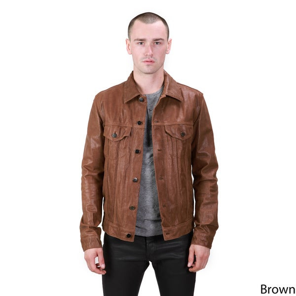 United Face Men's Classic Leather Trucker Jacket