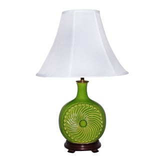 Ceramic Apple Green Spiral Table Lamp