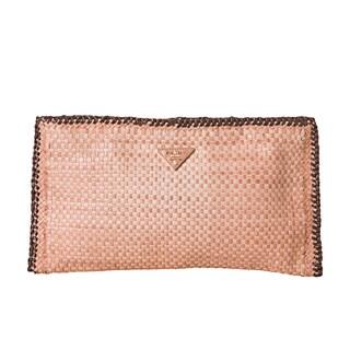 Prada Rose/Brown Madras Woven Leather Clutch