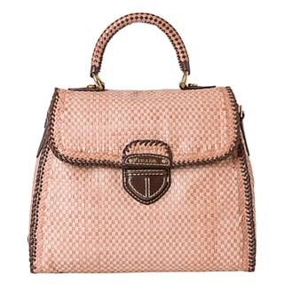 Prada Blush/Brown Woven Leather Madras Handbag