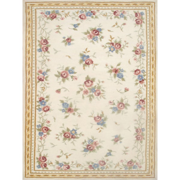 Delicate Hand-made Wool Rug (5' x 8')