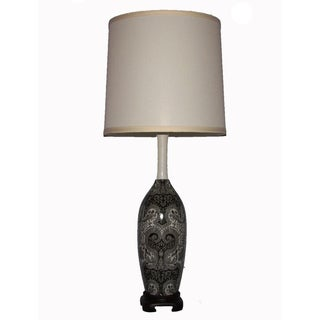 Ceramic Silver-and-Black Parisian Table Lamp with Three-Way Switch