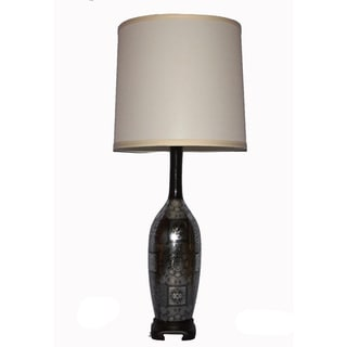 Silver-and-black Parisian Ceramic 150-watt Table Lamp