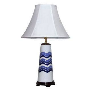 Blue and White Chevron ZigZag Flamestitch Ceramic Table Lamp