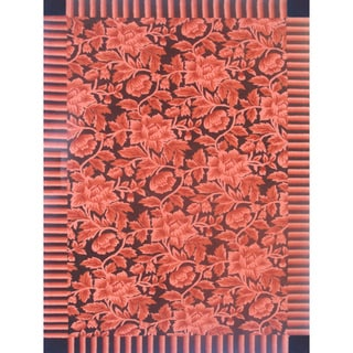 Autumn Red Hand-made Wool Rug (5' x 8')