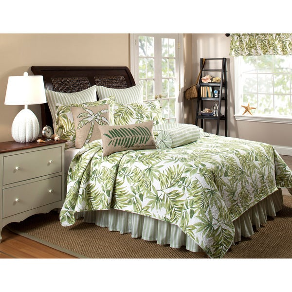 Tropical Leaves Green Quilt Set (Bedskirt and Euro Shams Sold Separately)