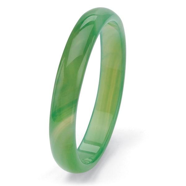 "PalmBeach Genuine Green or Red Agate Bangle Bracelet 9"" Naturalist"