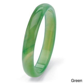 Angelina D'Andrea Green or Red Jade Bangle Bracelet