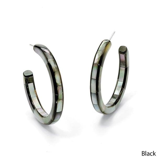 Angelina D'Andrea Mother-of-Pearl Hoop Earrings