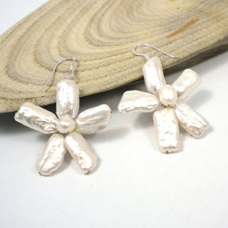 Floral Stick Petals Freshwater Pearl Earrings (Thailand)