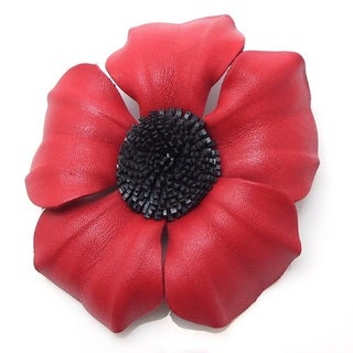 Red Daisy Flower Genuine Leather 2-in-1 Pin/ Hairclip (Thailand)