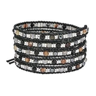 Handmade Tribal Fashion Faceted Brown Stones Five Wrap Bracelet (Thailand)