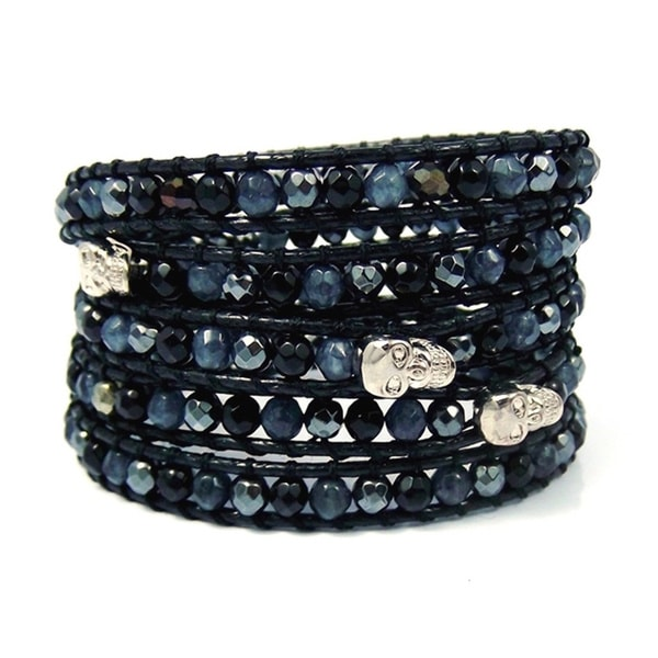 Punk Trio Skull Mix Stones Five Wrap Bracelet (Thailand)