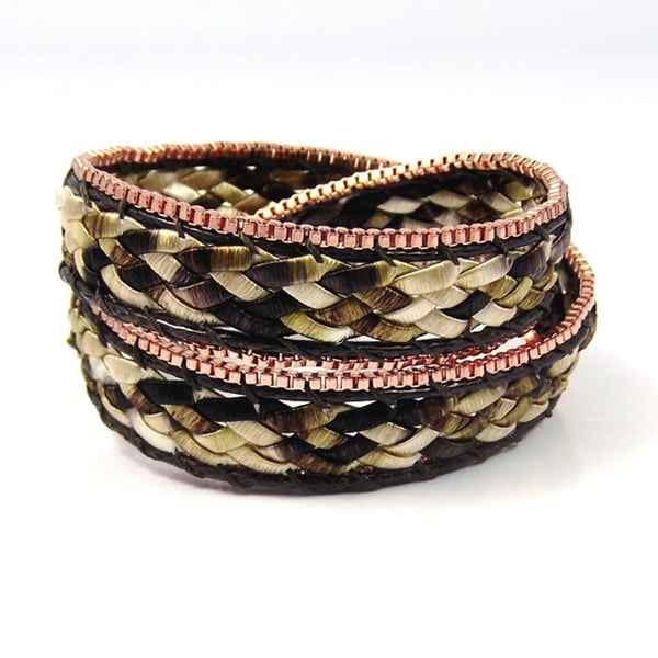 Braided Beauty Double Wrap Silk Bracelet (Thailand)