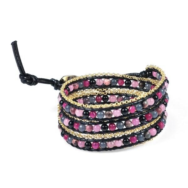 Assorted Berries Golden Brasss Link Triple Wrap Bracelet (Thailand)