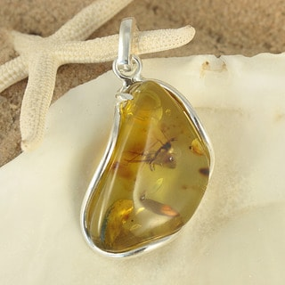 Sterling Silver Caged Honey Baltic Amber Pendant (Lithuania)