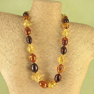 Hand-tied Multicolor Baltic Amber Nuggets Cord Necklace (Lithuania)