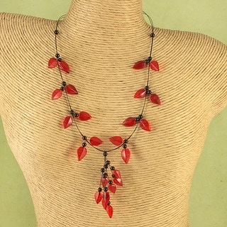 Handcrafted Ruby Red Baltic Amber Leaves Wire Necklace (Lithuania)