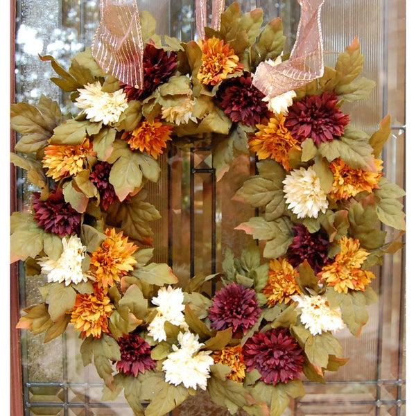 Fall Spider Mum Flower Front Door Wreath