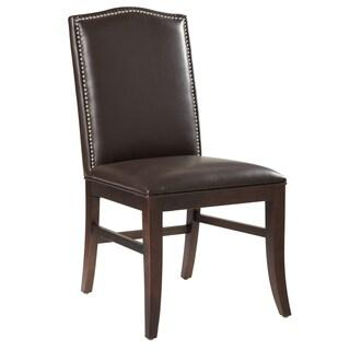 Sunpan Leather Dining Chair-Brown Leg (Set of 2)