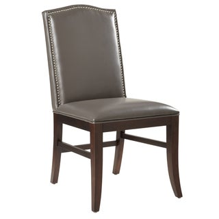 Sunpan Grey Leather Dining Chair (Set of 2)