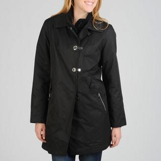 Hilary Radley Women's Clip Front Rain Coat w/Removable Warmer
