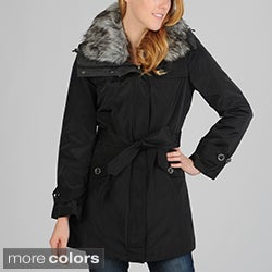 Hilary Radley Women's Belted Anorak with Button Out Warmer and Button Off Faux Fur Collar