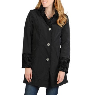 Hilary Radley Women's Single Breasted Reversible Storm Coat