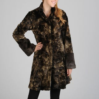 Hilary Radley Women's Snap Front Faux Fur Coat