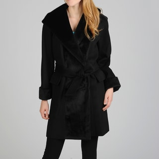 Hilary Radley Women's Belted Hooded Wrap Coat