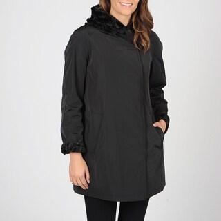 Hilary Radley Women's A-Line Reversible Pant Storm Coat w/Hood