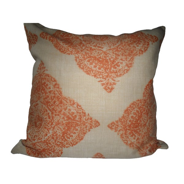Ann Marie Lindsay 18-inch Beige and Tangerine Decorative Pillow Cover
