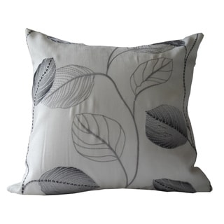 Ann Marie Lindsay 18-inch Black and White Floral Embroidery Decorative Pillow Cover