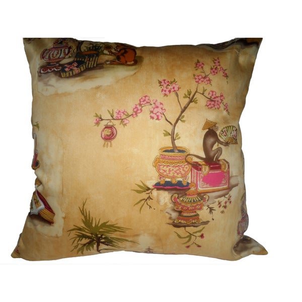 Ann Marie Lindsay 18-inch Oriental Monkey Design Decorative Pillow Cover
