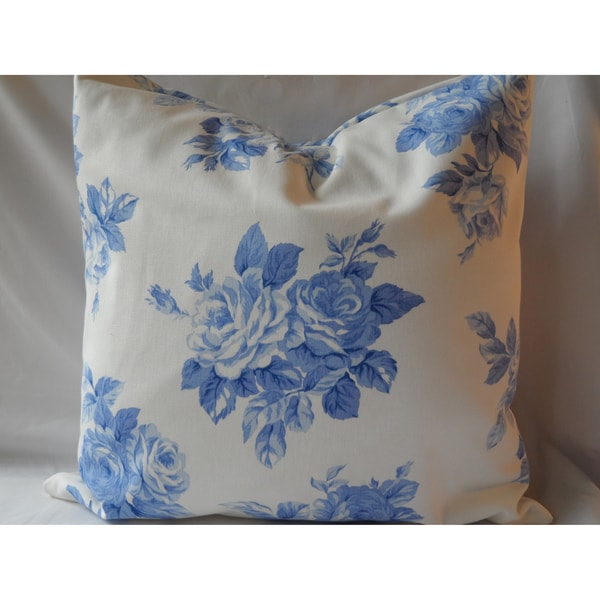Ann Marie Lindsay Blue and White Rose Decorative Pillow Cover