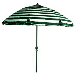 Green and Off-white Stripes/ Green Pole 92-inch Umbrella