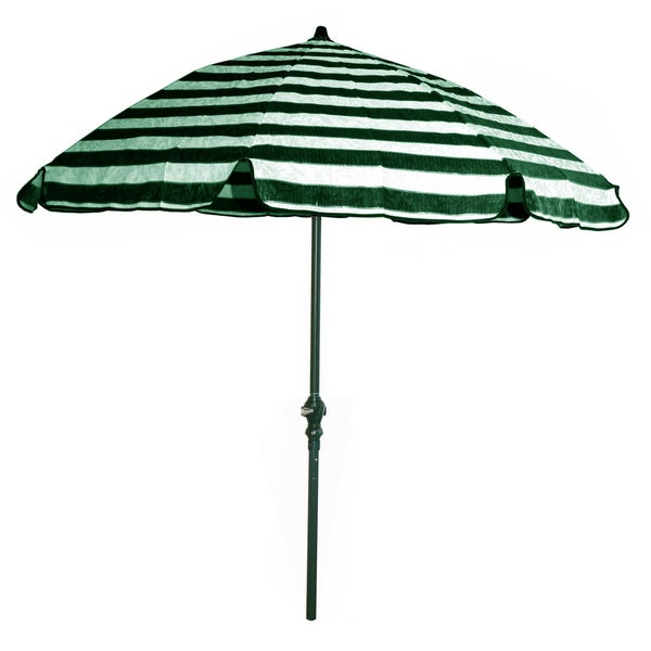 Green and Off-white Stripes/ Green Pole 92-inch Umbrella