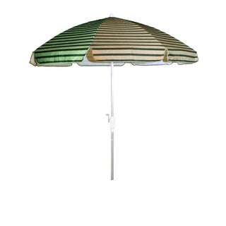 Dark Green and Tan Beige Stripes/ Silver Pole 92-inch Umbrella with Crank