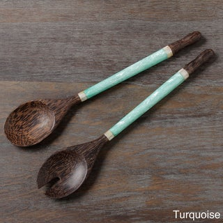 Set of Two Capiz Handle Salad Serving Spoons (Indonesia)