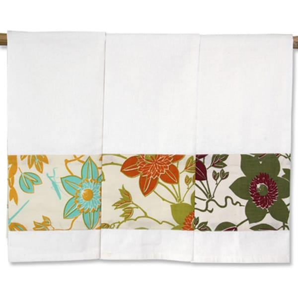 Set of Three Passion Flower Cotton Kitchen Towels (Indonesia)