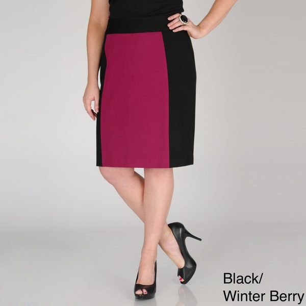 Grace Elements Women's Plus Colorblock Pencil Skirt