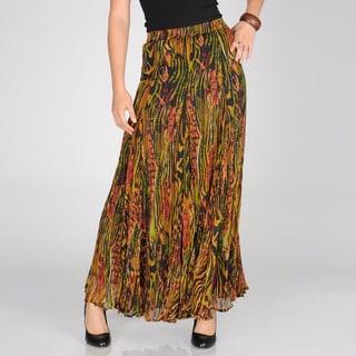 Chelsea & Theodore Women's Safari Dusk Printed Broomstick Maxi Skirt