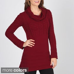 Grace Elements Women's Cable Knit Cowl Neck Tunic Sweater