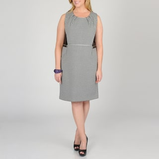 Grace Elements Women's Plus Houndstooth Sheath Dress