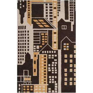 Hand-tufted Du Novelty Cityscape Wool Rug