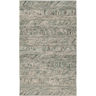 Hand-woven Green/Brown Casual Dunes Wool Rug