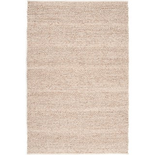 Hand-woven Casual Solid Beige Bedford Wool Rug