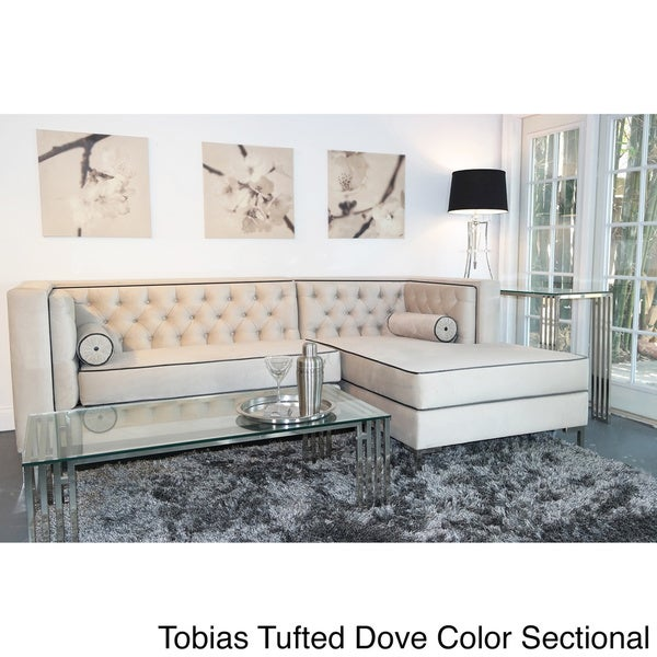 Decenni Custom Furniture 'Tobias' Light Dove Grey Tufted Sectional Sofa