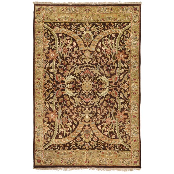 Brown Hand-Knotted Banks Semi-Worsted New Zealand Wool Rug (2' x 3')